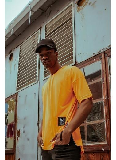 XHAN Turuncu Yanı Fermuarlı Oversize T-Shirt 1Kxe1-44586-11 Oranj